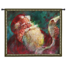 Santa's List | Woven Tapestry Wall Art Hanging | Santa Claus Naughty or Nice Festive Christmas Decor | 100% Cotton USA Size 53x42 Wall Tapestry