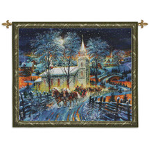 Midnight Clear - Woven Tapestry Wall Art Hanging For Home Living Room & Office Decor - Christmas Horse Drawn Carriage Sleigh Snowy Road Steeple Church Holiday Decor - 100% Cotton - USA 43X53 Wall Tapestry