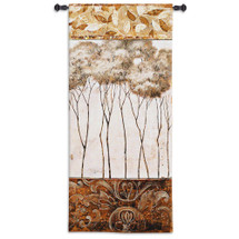 African Trees I by Fabrice de Villeneuve | Woven Tapestry Wall Art Hanging | Slender African Trees with White Sky and Warm Earthy Rich Border | 100% Cotton USA Size 53x26 Wall Tapestry