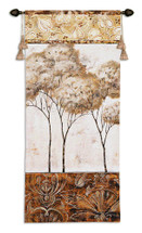 African Trees II by Fabrice de Villeneuve | Woven Tapestry Wall Art Hanging | Slender African Trees with White Sky and Warm Earthy Rich Border | 100% Cotton USA Size 53x26 Wall Tapestry