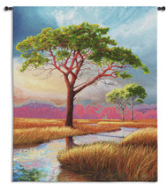 Daybreak on the Marsh | Woven Tapestry Wall Art Hanging | Dreamy Impressionist Landscape with Sturdy Tree | 100% Cotton USA Size 53x44 Wall Tapestry