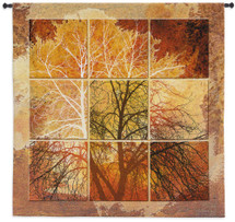 October Light | Woven Tapestry Wall Art Hanging | Abstract Bare Tree Against An Autumn Sky In Nine Separate Panels With Warmth Fall Colors | 100% Cotton USA 55X52 Wall Tapestry