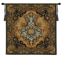 Onyx Safari | Woven Tapestry Wall Art Hanging | Classic Regal Patterns with African Leopard Prints | 100% Cotton USA Size 48x48 Wall Tapestry