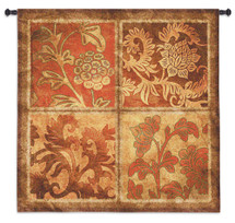 Botanical Scroll - Woven Tapestry Wall Art Hanging For Home Living Room & Office Decor - Metallic Filigree Panels Floral Flower Pattern Art  - 100% Cotton - USA Wall Tapestry