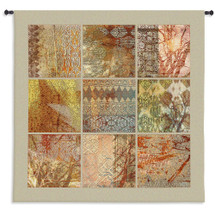 Fine Art Tapestries Nine Patch Fabric Hand Finished European Style Jacquard Woven Wall Tapestry  USA Size 53x53 Wall Tapestry