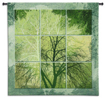 April Light | Woven Tapestry Wall Art Hanging | Contemporary Green Tree Silhouette Panel Art | 100% Cotton USA Size 53x53 Wall Tapestry
