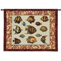 Coral Fish Study | Woven Tapestry Wall Art Hanging | Exotic Tropical Fish with Red Reef Border | 100% Cotton USA Size 53x42 Wall Tapestry