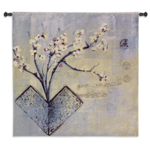 Zen Flower by Asha Menghrajani | Woven Tapestry Wall Art Hanging | Asian Blooming Floral Branches with Musical Note Background | 100% Cotton USA Size 53x53 Wall Tapestry