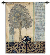 Blue Autumn by J Goldberger | Woven Tapestry Wall Art Hanging | Faded Fall Tree with Text on Parchment | 100% Cotton USA Size 53x42 Wall Tapestry