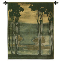 Nouveau Trees I by Jennifer Goldberger | Woven Tapestry Wall Art Hanging | Earthy Silhouetted Landscape | 100% Cotton USA Size 53x43 Wall Tapestry