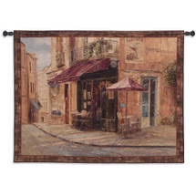 Hillside Cafe By Haixia Liu - Woven Tapestry Wall Art Hanging For Home Living Room & Office Decor - Neighborhood Open Street Cafe European Cityscape - 100% Cotton - USA 41X53 Wall Tapestry