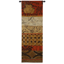 Autumn Fusion I - Woven Tapestry Wall Art Hanging - Fall Season Inspired Vertical Wood Elements Leaves Geometric Shapes - 100% Cotton - USA 62X21 Wall Tapestry