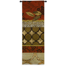 Autumn Fusion II | Woven Tapestry Wall Art Hanging | Fall Inspired Wood Geometry Vertical Panels | 100% Cotton USA Size 62x21 Wall Tapestry