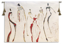 Cirque | Woven Tapestry Wall Art Hanging | Contemporary Accented Minimalist Figures on Solid White Background | 100% Cotton USA Size 53x39 Wall Tapestry