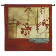 Amber Window | Woven Tapestry Wall Art Hanging | Contemporary Industrial Design with Deep Reds | 100% Cotton USA Size 53x53 Wall Tapestry