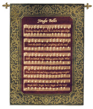 Jingle Bells | Woven Tapestry Wall Art Hanging | Classic Festive Christmas Carol Sheet Music | 100% Cotton USA Size 52x31 Wall Tapestry