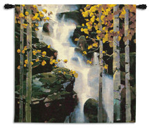 Waterfall by Michael O'Toole | Woven Tapestry Wall Art Hanging | Gushing Water in Rocky Birch Landscape | 100% Cotton USA Size 53x53 Wall Tapestry
