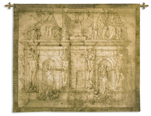 Design for Julius II Tomb | Woven Tapestry Wall Art Hanging | Renaissance Michelangelo Sculpture Masterpiece Depiction | 100% Cotton USA Size 76x63 Wall Tapestry