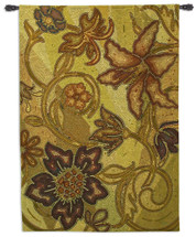 Autumn Mosaic | Woven Tapestry Wall Art Hanging | Fall Seasonal Olive Shaded Floral Mosaic Design | 100% Cotton USA Size 74x52 Wall Tapestry