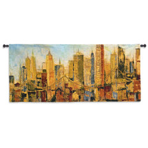 Metro Heights By Karen Dupre | Woven Tapestry Wall Art Hanging | Edgy Urban Cityscape Sunset Artwork | 100% Cotton USA 21x63 Wall Tapestry