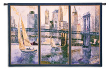 Sailing in the Afternoon Large by Borafull | Woven Tapestry Wall Art Hanging | Hudson River Sailboats with Bridges and New York City Skyline Panel Art | 100% Cotton USA Size 77x53 Wall Tapestry