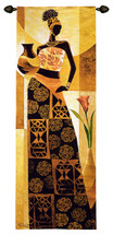 Naima By Keith Mallett  - Woven Tapestry Wall Art Hanging For Home Living Room & Office Decor - T African Woman Poses Clay Jar Vase Flower African Culture Rich Warm Colored Motif Artwork - 100% Cotton - USA 73X26 Wall Tapestry