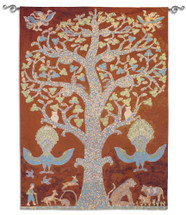 Fine Art Tapestries Temple Tree Of Life Hand Finished European Style Jacquard Woven Wall Tapestry  USA Size 83x62 Wall Tapestry