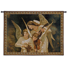 Angels Playing Violin by William Adolphe Bouguereau | Woven Tapestry Wall Art Hanging | Classical Angelic Scene for Music Lovers | 100% Cotton USA Size 53x39 Wall Tapestry