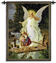 Guardian Angel by Lindberg Heilige | Woven Tapestry Wall Art Hanging | Angel Protecting Children | 100% Cotton USA Size 53x40 Wall Tapestry