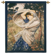 Boreas by John William Waterhouse | Woven Tapestry Wall Art Hanging | Classic Beautiful Woman in Blue Dress | 100% Cotton USA Size 53x40 Wall Tapestry