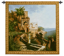 In the Garden Amalfi Coast by Unterberger | Woven Tapestry Wall Art Hanging | Lush Italian Seaside View | 100% Cotton USA Size 53x53 Wall Tapestry