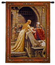 Godspeed by Edmund Blair Leighton   Woven Tapestry Wall Art Hanging   Medieval Lady with Arthurian Knight   100% Cotton USA Size 76x53 Wall Tapestry
