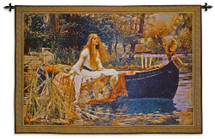 The Lady of Shalott by John William Waterhouse | Woven Tapestry Wall Art Hanging | Arthurian Renaissance Camelot Pre Raphaelite Fantasy Artwork | 100% Cotton USA Size 63x43 Wall Tapestry