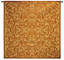 Copper Scroll | Woven Tapestry Wall Art Hanging | Architectural Metal Filigree Pattern | 100% Cotton USA Size 53x53 Wall Tapestry
