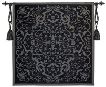 Halloween Scroll Black | Woven Tapestry Wall Art Hanging | Architectural Spooky Filigree Patterns | 100% Cotton USA Size 53x53 Wall Tapestry