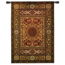 "Monogram Medallion A | Woven Tapestry Wall Art Hanging | Ornate Symmetric Mosaic Artwork with Decorative Letter ""A"" 