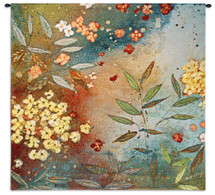 Gardens In The Mist By Aleah Koury - Woven Tapestry Wall Art Hanging For Home Living Room & Office Decor - Nature Leaf Motifs Flowers Earth Tones Nature Floral And Abstract Themes - 100% Cotton - USA 31X31 Wall Tapestry