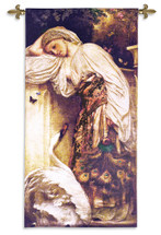 Odalisque | Woven Tapestry Wall Art Hanging | Turkish 'Odalik' Chambermaid Woman Observing White Swan | 100% Cotton USA Size 60x26 Wall Tapestry