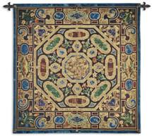 Verona | Woven Tapestry Wall Art Hanging | Ornate Italian Jeweled Stonework Pattern | 100% Cotton USA Size 52x52 Wall Tapestry