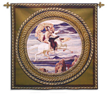 Fine Art Tapestries Perseus On Pegasus Hastening To The Rescue Of Andromeda Hand Finished European Style Jacquard Woven Wall Tapestry USA 53X53 Wall Tapestry