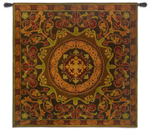 Suzani Radiance | Woven Tapestry Wall Art Hanging | Ornate Central Asian Patterned Tribal Textile | 100% Cotton USA Size 53x53 Wall Tapestry