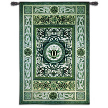 Atlantis | Woven Tapestry Wall Art Hanging | Ornate Intricate Design in Cool Green Tones | 100% Cotton USA Size 75x53 Wall Tapestry