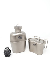 For over the last one hundred years the US GI Style canteen mess kit has served millions of military service men/women as well as millions of outdoor enthusiasts on backcountry adventures.  The Heavy Cover Titanium US GI Style Mess Kit combines a material with the highest strength to weight ratio and a design that continues to stand the test of time. The result is a lightweight, durable integral mess kit. Perfect for those counting ounces on the trail; as well as those with hazardous job occupations which require a personal hydration device on them at all times.