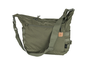 Helikon-Tex Bushcraft Satchel (Olive Green)  The Helikon-Tex Bushcraft Satchel® is a general purpose field bag. May be used as a carry-all for one-day outing, or for every day urban activities. Extremely capacious. Main chamber comprises a zippered mesh pocket for valuable items plus two elastic drawstring pockets, e.g. water bottle holders. On the outside the bag has a large zippered pocket and two open pockets. MOLLE/PALS panels at the sides and bottom loops allow to attach additional pouches and items. Compression straps allow size adjustment.  Features     100% Cordura 500D Made in USA or Imported One external zippered pocket, one internal. Built in sheaths for knife/axe/saw Two internal elastic drawstring pockets for water bottles etc. Compression straps at sides PALS/MOLLE side panels. Easy internal personalization. Internal zippered mesh pocket Detachable, adjustable wide carrying strap. European Patent 002991372-0002. Dimensions 30 x 32 x 17.5 cm/ 11.81 x 12.6 x 6.89 in.