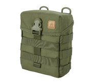 Helikon-Tex  E & E Pouch (Olive Green)  The Helikon-Tex  E & E Pouch (Olive Green) is a timeless classic based on a revised British Special Forces design. This large pouch holds survival and bushcraft equipment, water bottles, food rations and similar items. There is a sleeve on the back that will hold a folding saw/knife/axe. MOLLE/PALS compatible.  Specifications:  100% Cordura 500D Made in USA or Imported Front & side MOLLE/PALS webbing. Duraflex buckle closure Inner Velcro panel, 3 slim inner pockets and dummy cording loop with bottom Velcro limiter Built in sheath for knife/axe/saw at the rear of the pouch. DUTY BELT/PALS/MOLLE/Carrying Strap compatible Easy internal personalization. Front and side MOLLE/PALS webbing. Dimensions 19.5 x 15 x 7 cm/ 7.68 x 5.91 x 2.76 in.