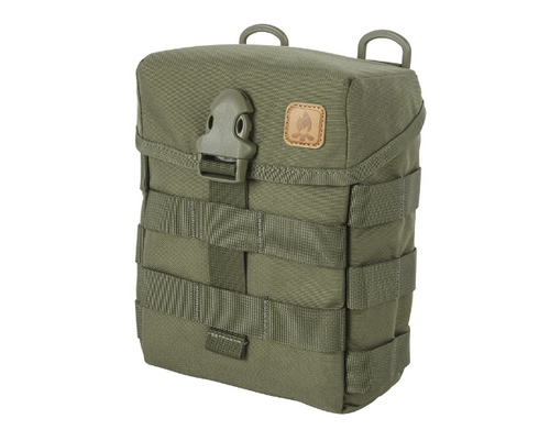 Helikon-Tex  E & E Pouch   The Helikon-Tex  E & E Pouch (Olive Green) is a timeless classic based on a revised British Special Forces design. This large pouch holds survival and bushcraft equipment, canteens, food rations and similar items. There is a sleeve on the back that will hold a folding saw/knife/axe. MOLLE/PALS compatible.  Specifications:  100% Cordura 500D Made in USA or Imported Front & side MOLLE/PALS webbing. Duraflex buckle closure Inner Velcro panel, 3 slim inner pockets and dummy cording loop with bottom Velcro limiter Built in sheath for knife/axe/saw at the rear of the pouch. DUTY BELT/PALS/MOLLE/Carrying Strap compatible Easy internal personalization. Front and side MOLLE/PALS webbing. Dimensions 19.5 x 15 x 7 cm/ 7.68 x 5.91 x 2.76 in.