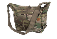 Helikon-Tex Bushcraft Satchel (MultiCam)  The Helikon-Tex Bushcraft Satchel® is a general purpose field bag. May be used as a carry-all for one-day outing, or for every day urban activities. Extremely capacious. Main chamber comprises a zippered mesh pocket for valuable items plus two elastic drawstring pockets, e.g. water bottle holders. On the outside the bag has a large zippered pocket and two open pockets. MOLLE/PALS panels at the sides and bottom loops allow to attach additional pouches and items. Compression straps allow size adjustment.  Features     100% Cordura 500D Made in USA or Imported One external zippered pocket, one internal. Built in sheaths for knife/axe/saw Two internal elastic drawstring pockets for water bottles etc. Compression straps at sides PALS/MOLLE side panels. Easy internal personalization. Internal zippered mesh pocket Detachable, adjustable wide carrying strap. European Patent 002991372-0002. Dimensions 30 x 32 x 17.5 cm/ 11.81 x 12.6 x 6.89 in.
