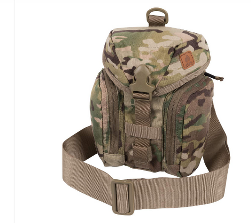 Helikon-Tex Essential Canteen Kit Bag (MultiCam)  The Helikon-Tex Essential Kitbag® was designed to hold all essential bushcraft/survival kit. This bag will hold the Heavy Cover Titanium Canteen & cup, or Nalgene Bottle & cup , folding stove, flashlight, compass, cord, sewing kit etc. All kit is neatly organized in separate pockets. Essential can be carried attached to backpack or belt via MOLLE/PALS or with its own shoulder strap. There is a sleeve on the back that will hold a folding saw/knife/axe. Capacity can be velcro reduced. Extra pouches can be attached at the front side. The Essential Kitbag is an ideal one-day expedition bag to carry all essential stuff.  Features      adjustable buckle closure Takes most 1 liter water bottles (Nalgene, Heavy Cover Titanium & Canteen & cup) Main chamber with adjustable drawstring and compartment for folding expeditionary cooker Zippered mesh water purification tablets pocket inside the flap Side organizer YKK®-zippered pockets with loop and mesh pocket Built in velcro-adjusted sheath for knife/axe/saw Detachable, adjustable wide carrying strap, DUTY BELT/PALS/MOLLE compatible D-rings for strap Co-designed by Survivaltech.pl
