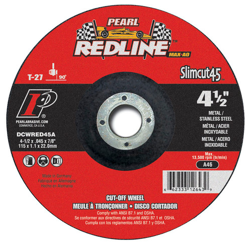 Pearl Abrasive T-27 Aluminum Oxide Slimcut 45 Max A.O. Redline Thin Cut Off Wheel 25ct Case A46 Grit 7 x .062 x 7/8 DCWRED07A