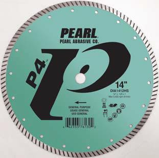 Pearl Abrasive P4 Pro-V High Speed Diamond Turbo Blade 14 x .125 x 1, 20mm DIA1412HS